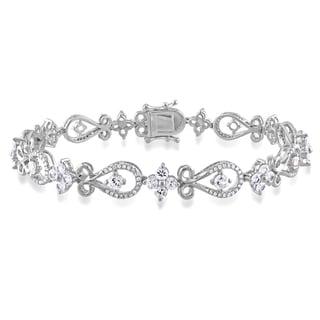 Miadora Signature Collection 10k Gold Sapphire and 1/2ct TDW Round-cut Diamond Bracelet (G-H, I1-I2)