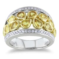 Miadora Signature Collection 14k Gold Pear-shaped Sapphire and 1/3ct TDW Diamond Ring (G-H, SI1-SI2)
