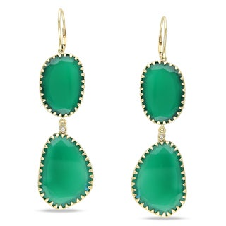 Miadora 14k Yellow Gold Green Onyx and Diamond Accent Earrings