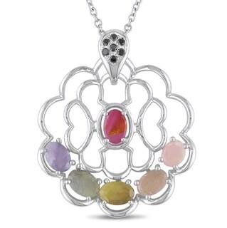 Miadora Signature Collection 14k Gold Colored Sapphire and 1/10ct TDW Black Diamond Necklace