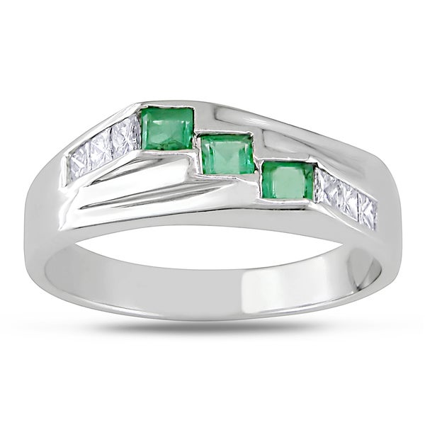Miadora 14k Gold Emerald and 1/4ct TDW Diamond Ring (G-H, I1-I2)