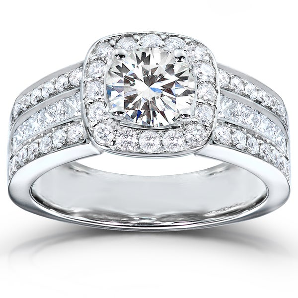 Annello by Kobelli 14k White Gold Moissanite (HI) and 1ct TDW Diamond Engagement Ring (H-I, I1
