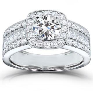 Annello by Kobelli 14k White Gold Moissanite (HI) and 1ct TDW Diamond Engagement Ring (H-I, I1