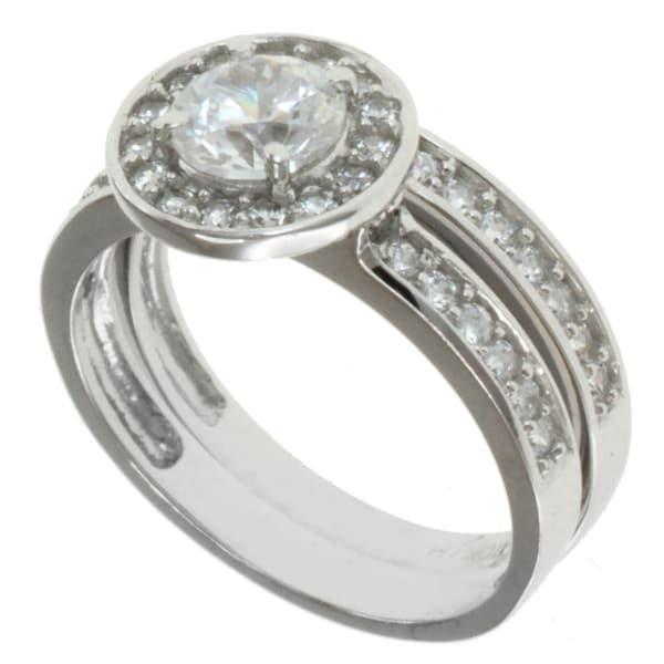 Michael Valitutti Signity 10k White Gold Cubic Zircona Ring Set