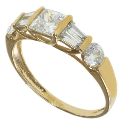 Michael Valitutti 14k Yellow Gold Cubic Zircona Ring