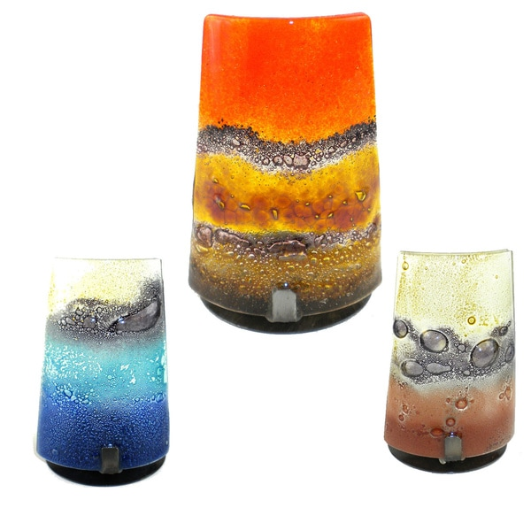 Handmade Artisan Glass Candle Holder  , Handmade in Chile
