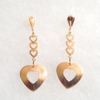 18k Gold Plated 4 Hearts Stud Earrings