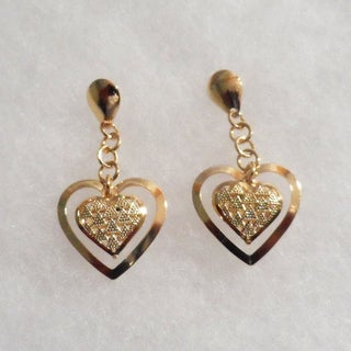 18k Gold Plated Double Heart Stud Earrings