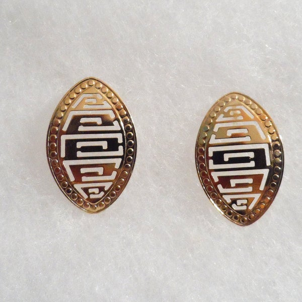 18k Gold Plated Stamped Stud Earrings