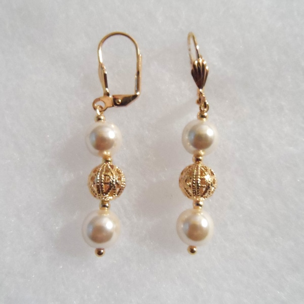 18k Gold Plated Pearls and Ball Earrings