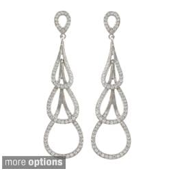 Sterling Silver Cubiz Zirconium Triple Teardrop Earrings