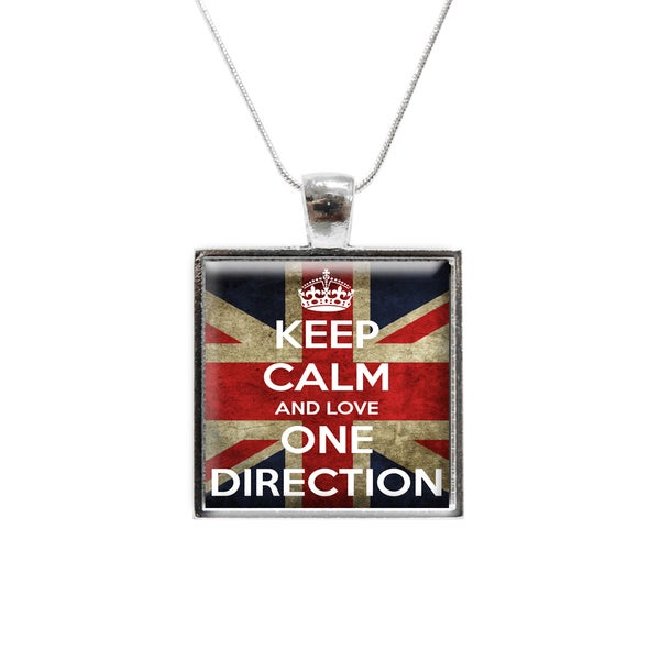 Keep Calm and Love One Direction Glass Pendant and Necklace