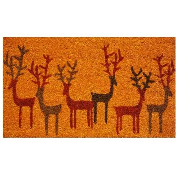Christmas Deer Coir with Vinyl Backing Doormat (1'5 x 2'5)