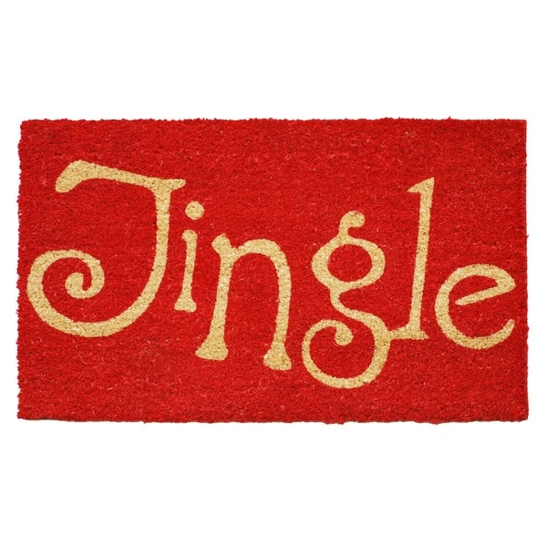 Jingle Red Coir Door Mat with Vinyl Backing (17 x 29). Opens flyout.