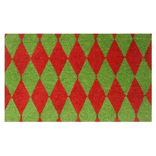 Christmas Argyle Coir Door Mat with Vinyl Backing (17 x 29)