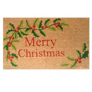 Merry Christmas Coir Door Mat with Vinyl Backing (17 x 29)