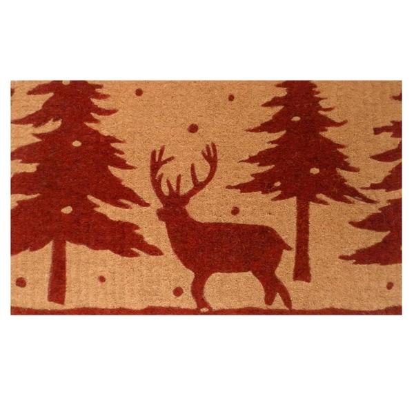 Christmas Reindeer Coir with Vinyl Backing Doormat (1'5 x 2'5)