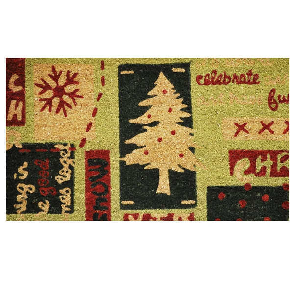 Christmas Menagerie Coir Door Mat with Vinyl Backing (17 x 29)