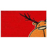 Christmas Moose Coir Door Mat with Vinyl Backing (17 x 29)