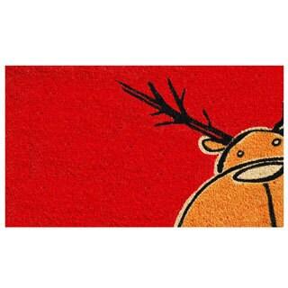 Christmas Moose Coir Door Mat with Vinyl Backing (17 x 29)