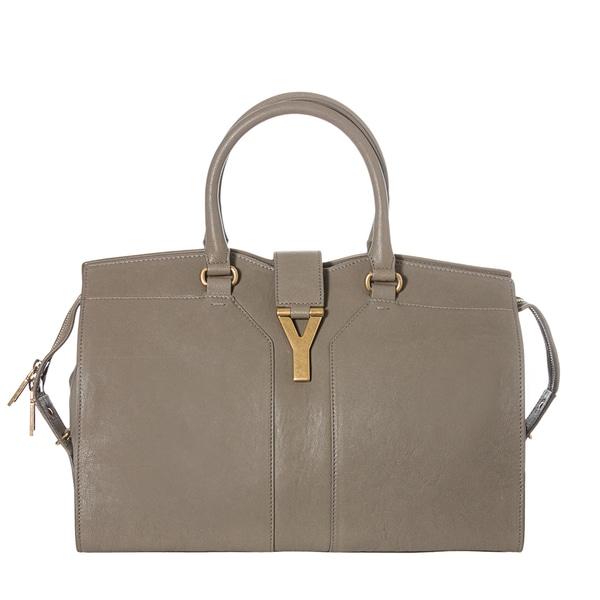Yves Saint Laurent Women's 'Cabas ChYc' Grey Leather MediumTote Handbag
