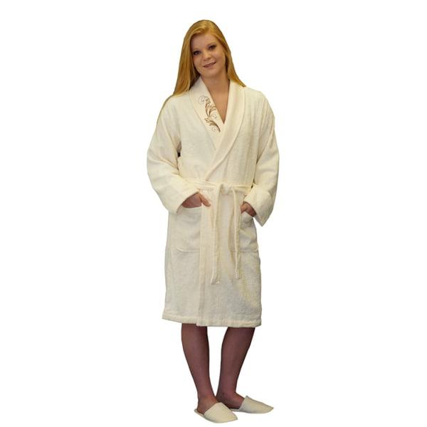 Brielle Women's Cotton Blend Ivory Bath Robe with Applique
