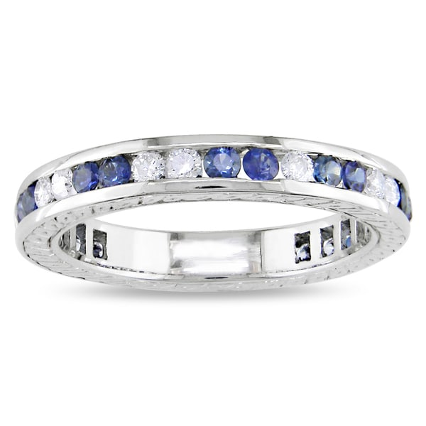 Miadora Signature Collection 18k Gold Sapphire and 1/2ct TDW Diamond Ring (H-I, I1-I2)