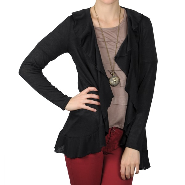 Journee Collection Women's Open Front Long Sleeve Ruffled Cardigan