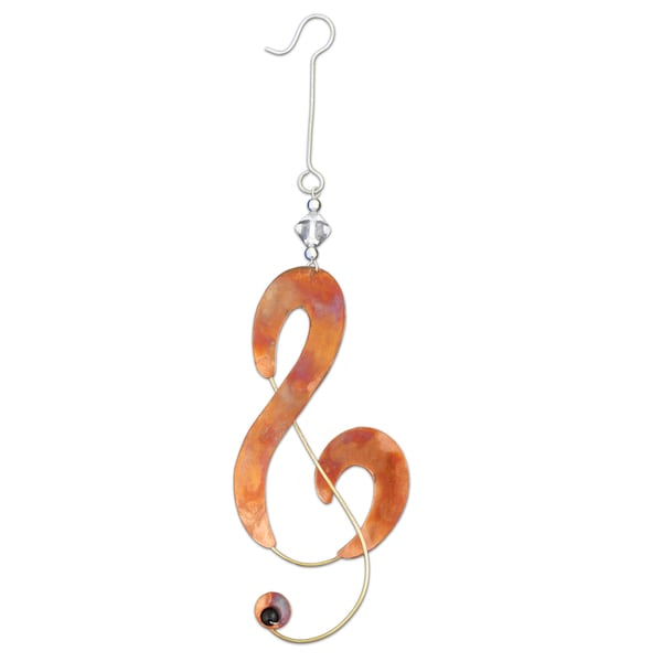 Handcrafted Treble Clef Mixed Metals Ornament  , Handmade in Thailand