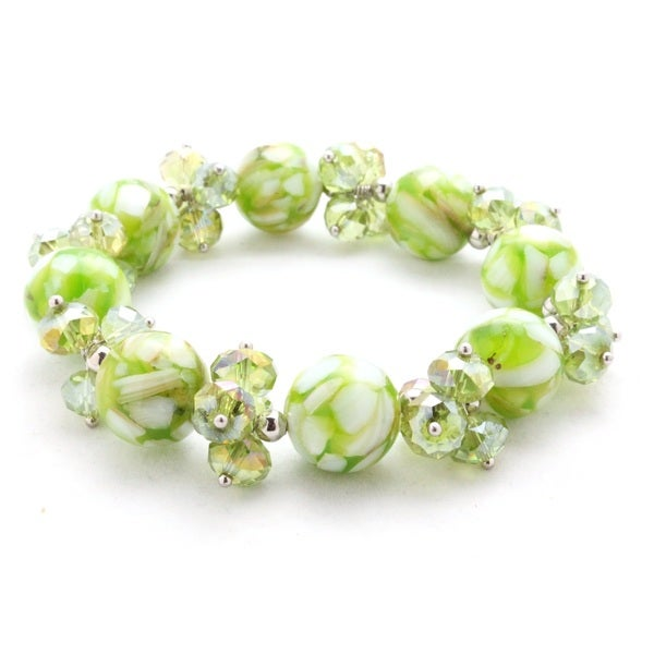 Green Mosaic Marble and Crystal Stretch Bracelet