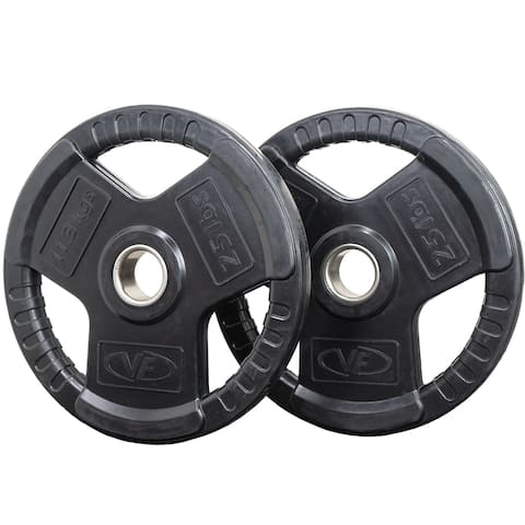 Valor Fitness OP-25 Olympic Weight Plates Coated Rubber Weights w/Weight Plate Set, Barbell Weights w/Grips for Home Gym