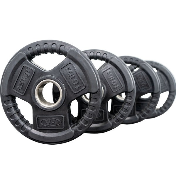 Valor Fitness OP-10 Olympic Weight Plates Coated Rubber Weights w/Weight Plate Set, Barbell Weights w/Grips for Home Gym. Opens flyout.