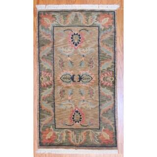 Herat Oriental Indo Hand-knotted Tibetan Light Brown/ Green Wool Rug (3' x 5')