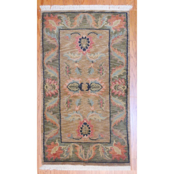 Herat Oriental Indo Hand-knotted Tibetan Light Brown/ Green Wool Rug (3' x 5')