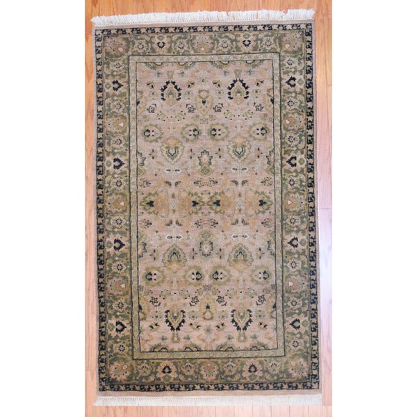 Indo Hand-knotted Mahal Beige/ Olive Wool Rug (3' x 5')
