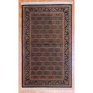 Herat Oriental Sino Hand-knotted Tabriz Black/ Green Wool Rug (3' x 5')