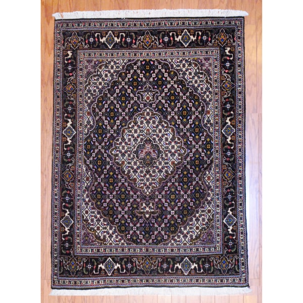 Persian Hand-knotted Tabriz Black/ Ivory Wool Rug (3' x 5')