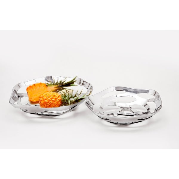 Large Polished Aluminum Decorative Bowl