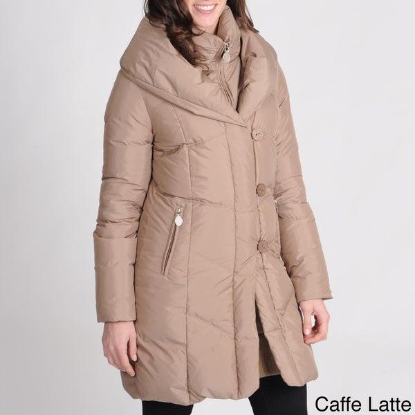 Tahari Petite Down-filled Double Collar Coat