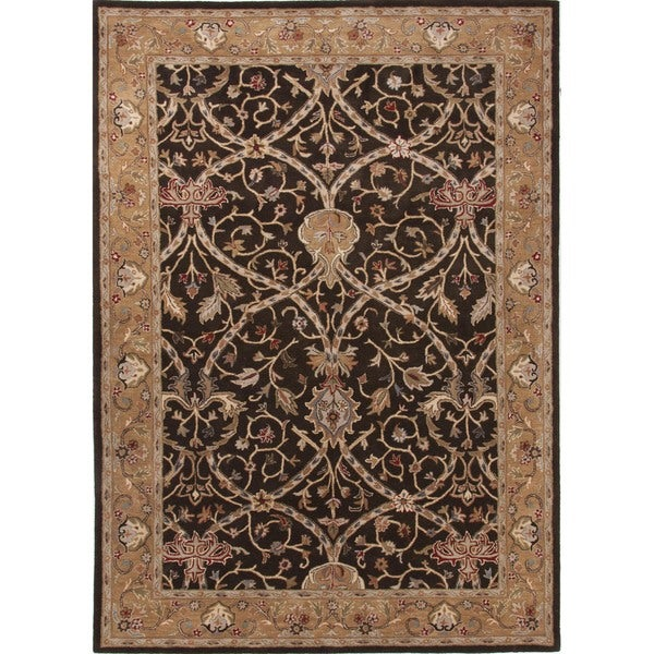 Traditional Oriental Gold/ Yellow Wool Tufted Rug (3'6 x 5'6)