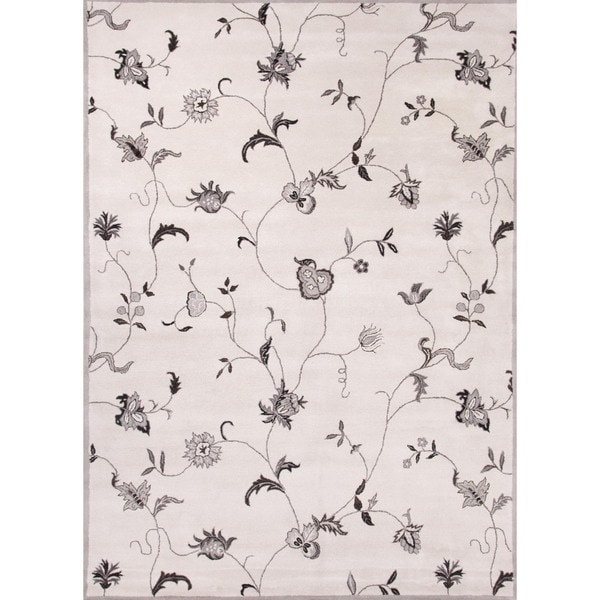 Transitional Floral Gray Wool Tufted Rug (3'6 x 5'6)