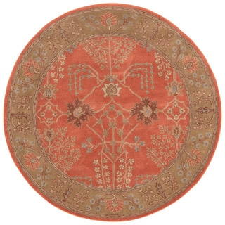 Tufted E20 Transitional Red/ Orange Wool Round Rug (10' x 10')