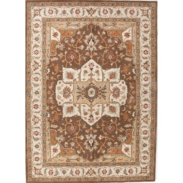 Traditional Beige/ Brown Wool Tufted Rug (9'6 x 13'6)