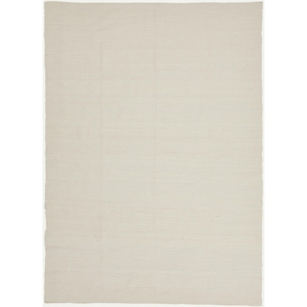 Rich Flat Weave Solid Ivory/ White Wool Rug (5' x 8')