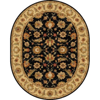 Tufted D94 Traditional Gray/ Black Wool Oval Rug (8' x 10')