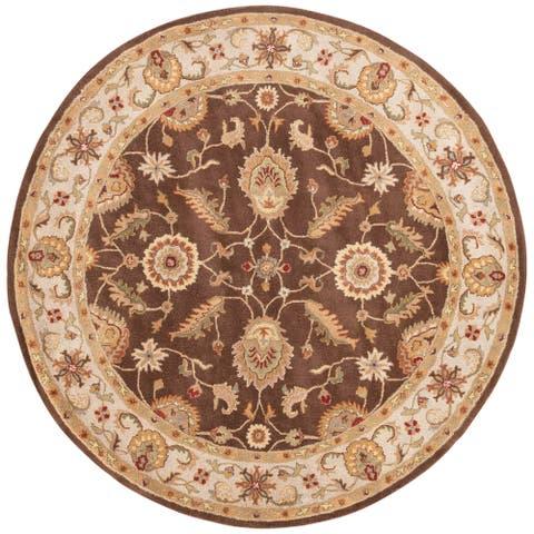 Skylar Handmade Floral Beige/ Black Area Rug (10' X 10') - 10' x 10' Round