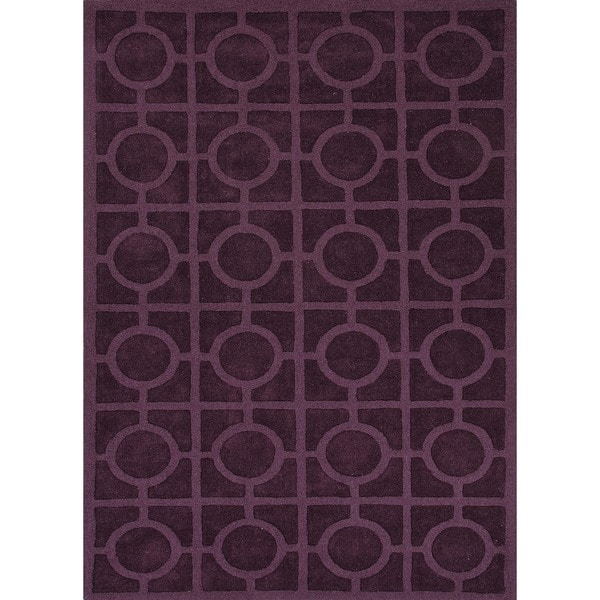 Solid Pink/ Purple Wool Woven Rug (8' x 11')