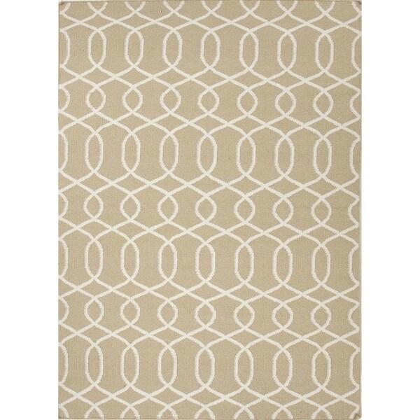 Flat Weave Geometric Beige/ Brown Wool Rug (9' x 12')