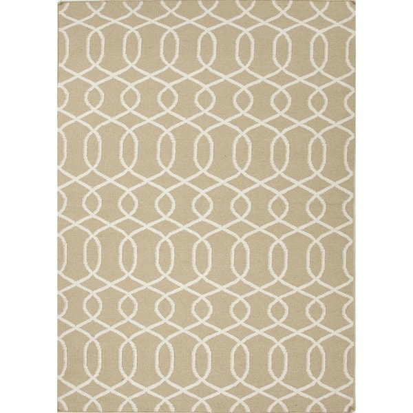 Flat Weave Geometric Beige/ Brown Wool Rug (3'6 x 5'6)