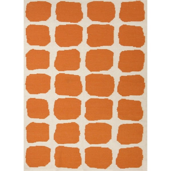 Flat Weave Abstract Red/ Orange Wool Rug (9' x 12')